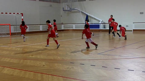 Kids Indoor Football Warm Up stock footage