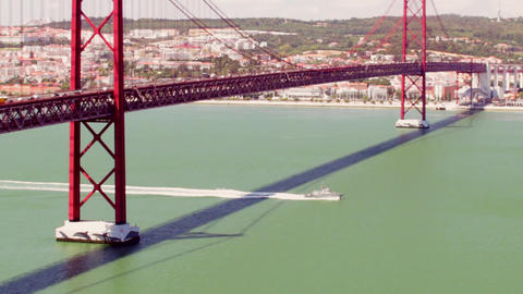 Boat Bellow the Bridge Footage