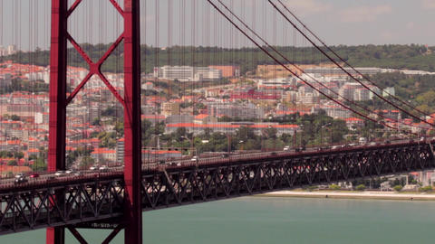 Suspension Bridge Close View Footage