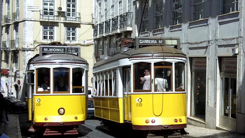 Lisbon Trams Crossing Footage
