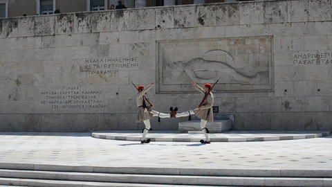 Changing Of The Guard, Evzones, Athens, Greece Footage