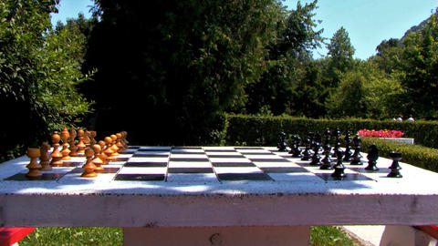 Chess Table in the Park Stock Video Footage