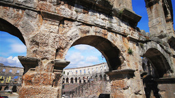 Roman amphitheater in Pula, Croatia Stock Video Footage