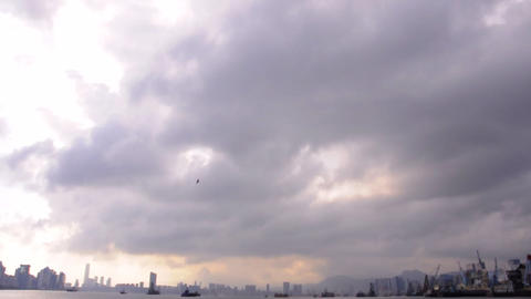 cloudy harbour Stock Video Footage
