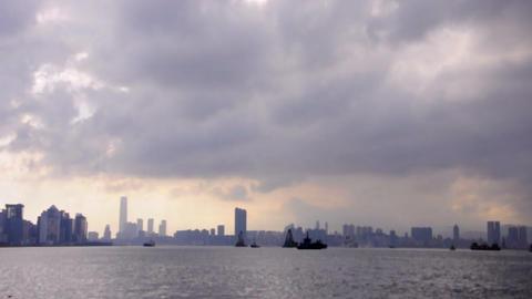 victoria harbour storm cloud Stock Video Footage