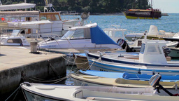 Boats in Rovinj Harbor, Croatia Footage