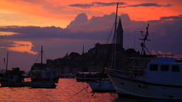 Rovinj on sunset, Croatia Stock Video Footage