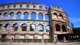 Roman arena in Pula, Croatia Stock Video Footage