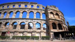 Roman arena in Pula, Croatia Stock Video Footage