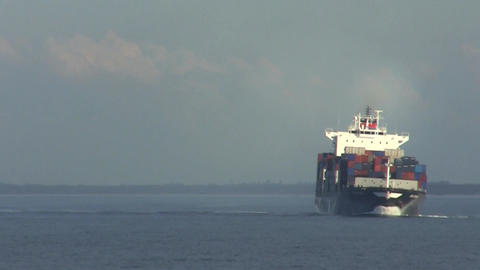 Container Ship Turning Footage