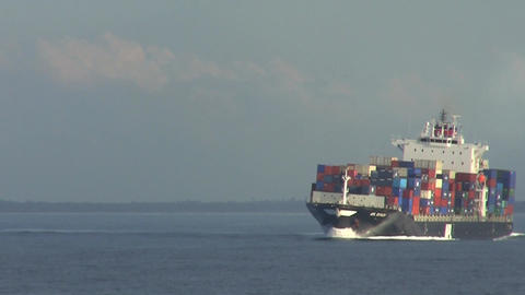 Container Ship Turning Stock Video Footage