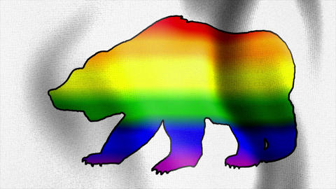 rainbow bear waving flag Animation