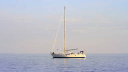 Seascape with a yacht Stock Video Footage
