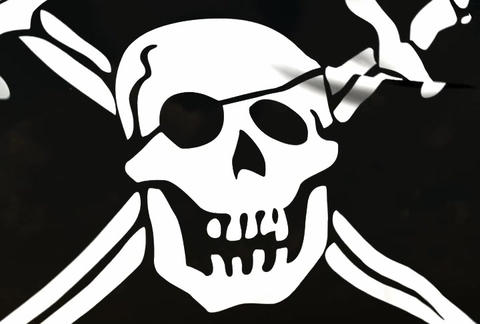 Jolly Roger Flag Stock Video Footage