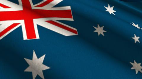 Australia Linen Flag w/ Stitches Seamless Loop 4K Stock Video Footage