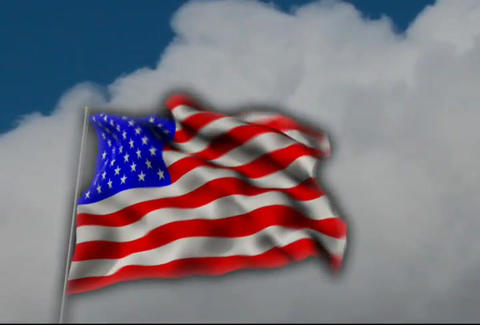 AmericanFlagCloudsKeying Stock Video Footage