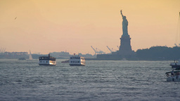Skyline sunset, Statue of Liberty, New York City Stock Video Footage