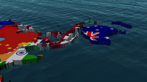 Australia 3D Flag World Slow Zoom with Clouds Stock Video Footage