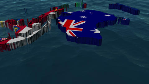 Australia 3D Flag World Slow Zoom with Clouds Animation