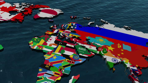 Afghanistan 3D Flag World Slow Zoom With Clouds Stock Video Footage