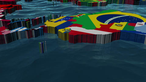 World Pan with flags as Countries and Sea Animation