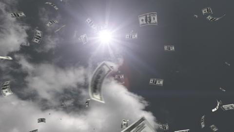 Money falling Bb5 dollar HD Stock Video Footage