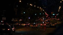 New York street traffic, night shot Stock Video Footage