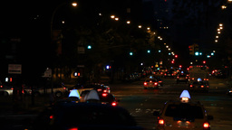 New York street traffic, night shot Stock Video Footage