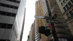Road sign, Financial District, New York City Footage