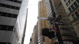 Road sign, Financial District, New York City Stock Video Footage
