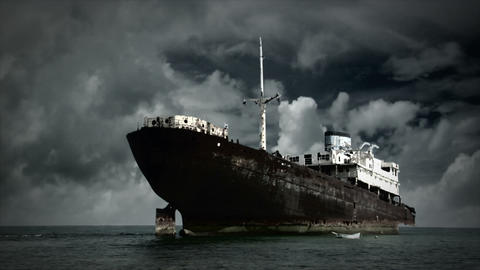 scary fog clouds behind old shipwreck ghost ship Stock Video Footage