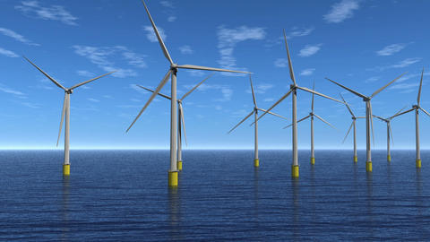 Windfarm Flyby Animation HD Stock Video Footage