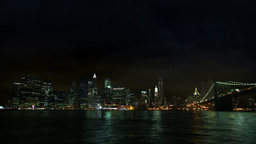 New York City skyline at stormy weather, night shot Footage