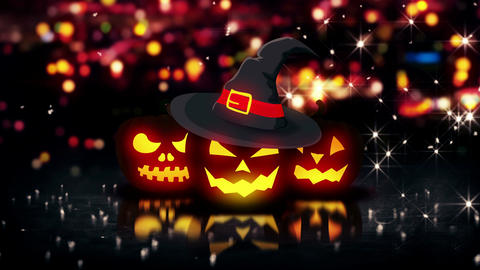 Halloween Glowing Three Pumpkins Night City Bokeh  stock footage