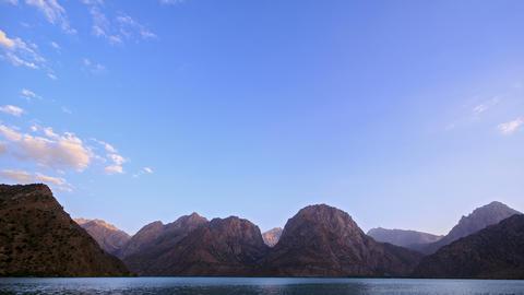 Mountain lake at sunset. TimeLapse. Pamir, Tajikis Footage