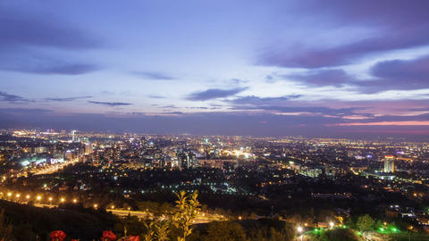 Evening city. Almaty, Kazakhstan. TimeLapse Footage