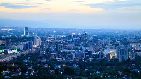 Night over the city. Almaty, Kazakhstan. 1280x720 Footage
