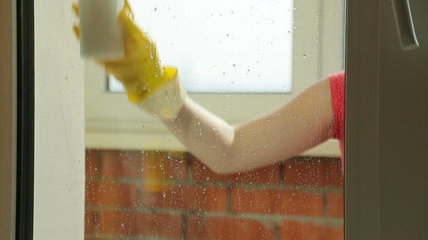 Girl washes the window , close up Live Action