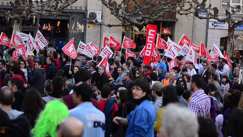 General Strike 2012 Spain stock footage