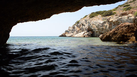 Sea Cave In Syros, Cyclades Islands, Greece Footage