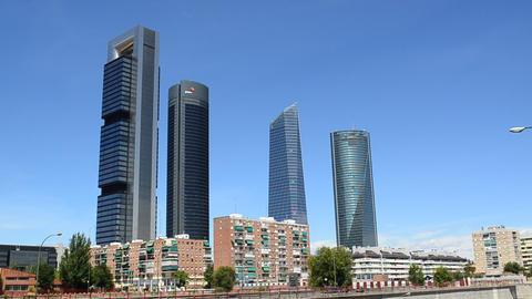 Madrid, Spain, Skyscrapers stock footage