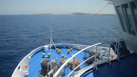 Front view of a ferry in the Aegean Sea, Greece Footage