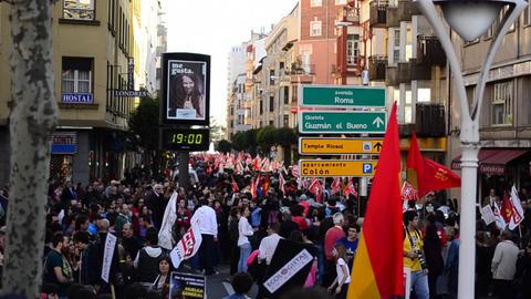 General Strike 2012 Spain stock footage