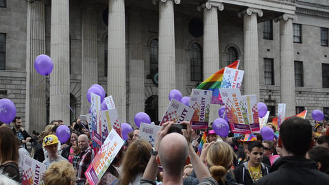 Gay Pride Parade Dublin Ireland stock footage