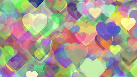 Colorful shifting hearts abstract loop Animation
