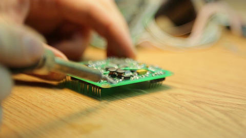 Soldering pads on the device close up Footage