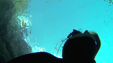 Breath Bubbles Of A Free Diver stock footage