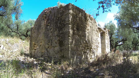 Ruins Of An Old House In Greek Countryside stock footage