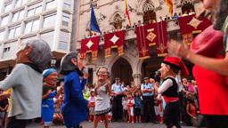 Big Head People Dance in Terrassa, Catalonia, Spai Footage