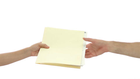 Office Worker Handing File Folder Footage